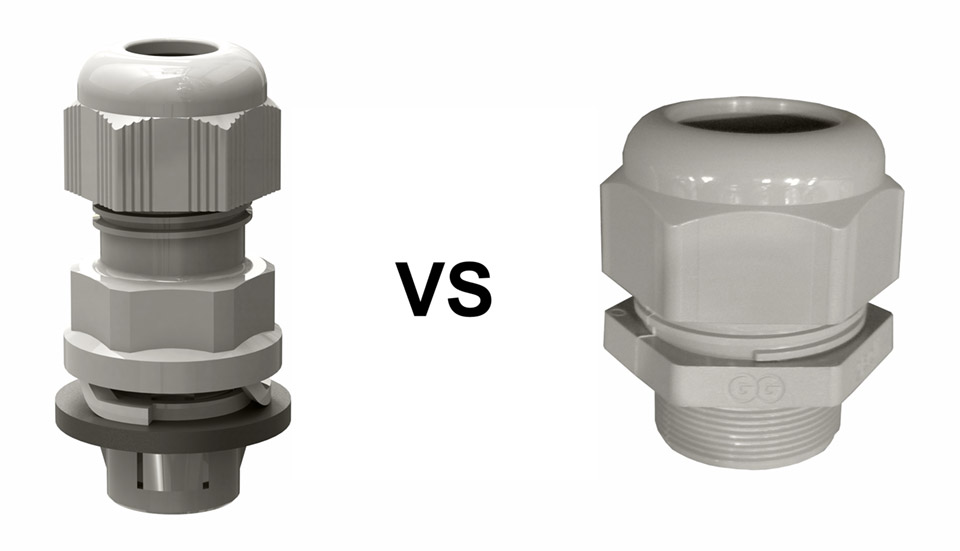 "Mounting efficiency comparison between ""GADI"" standard cable glands and ""GADI-QUICK"" quick-assembly cable glands."