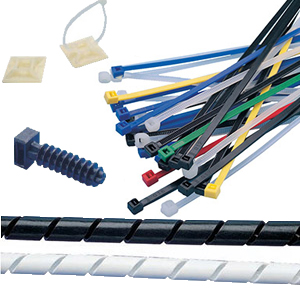 CABLE TIES, MOUNTING BASES, WALL PLUG BASES AND WIRING SPIRALS