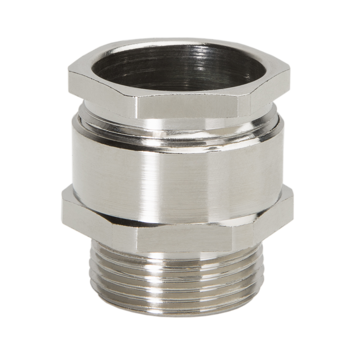 "HEXAGONAL CABLE GLANDS ""METRIC"" LONG THREAD BRASS NICKEL"